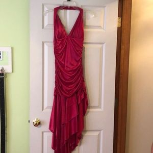 Fuchsia halter dress with uneven hemline!